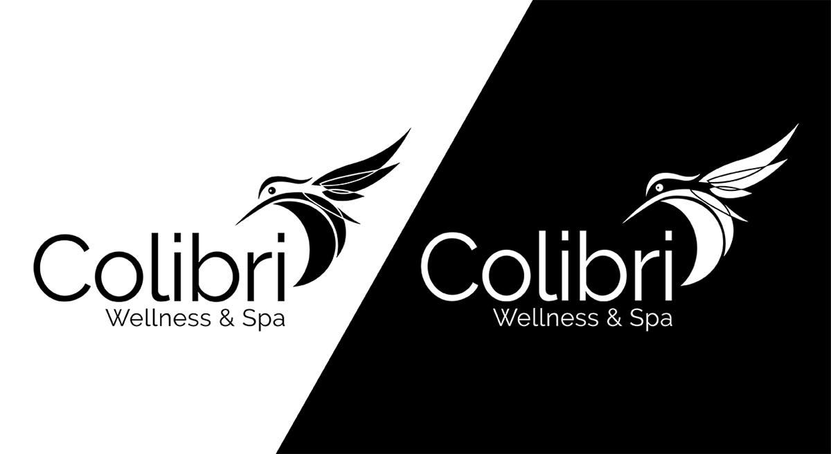 colibri bird logo template modern elegant Spa Wellness Yoga resort