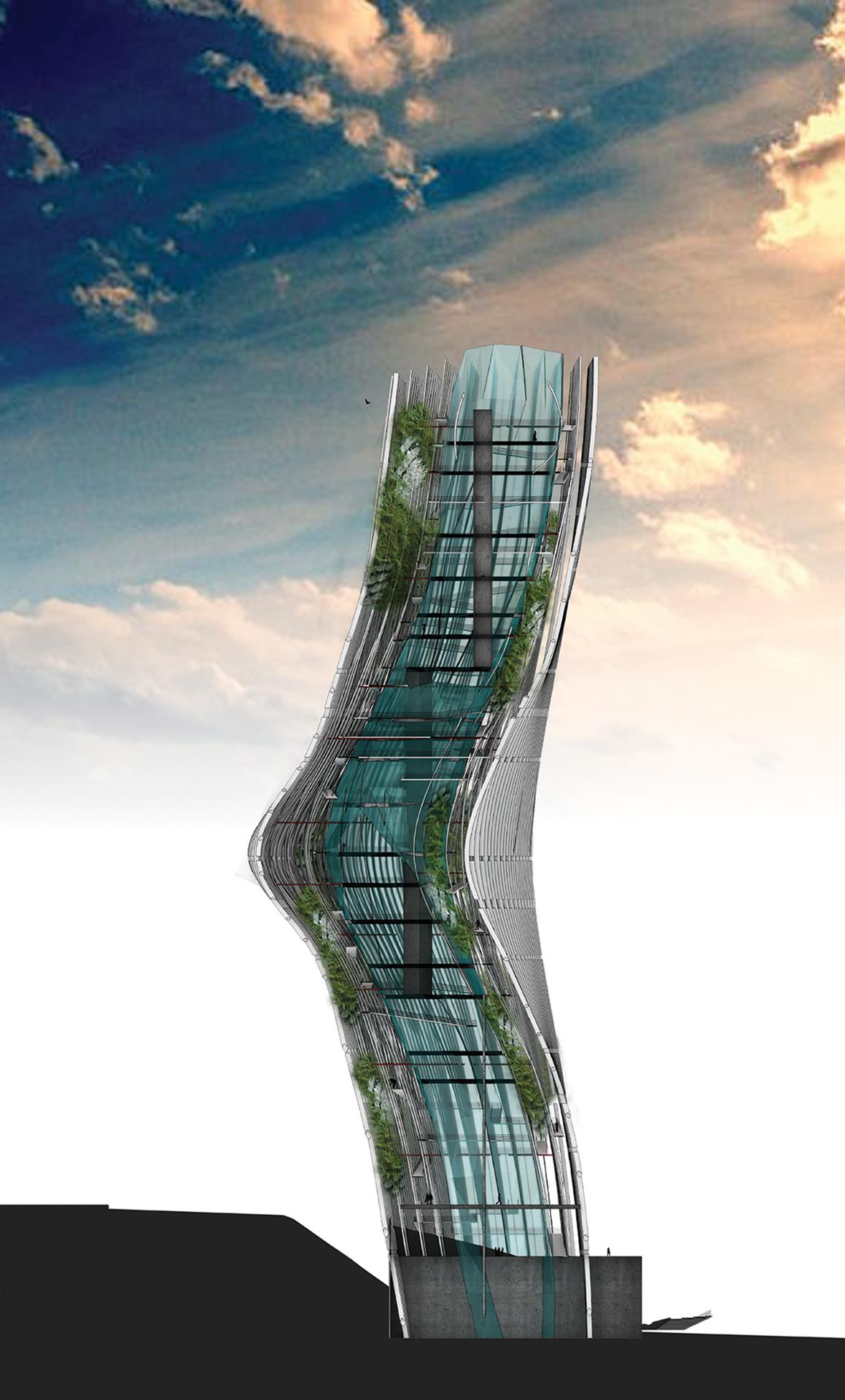 Vertical Farm wind Downtown LA Los Angeles la downtown tower louvres Sustainable building behavior farm