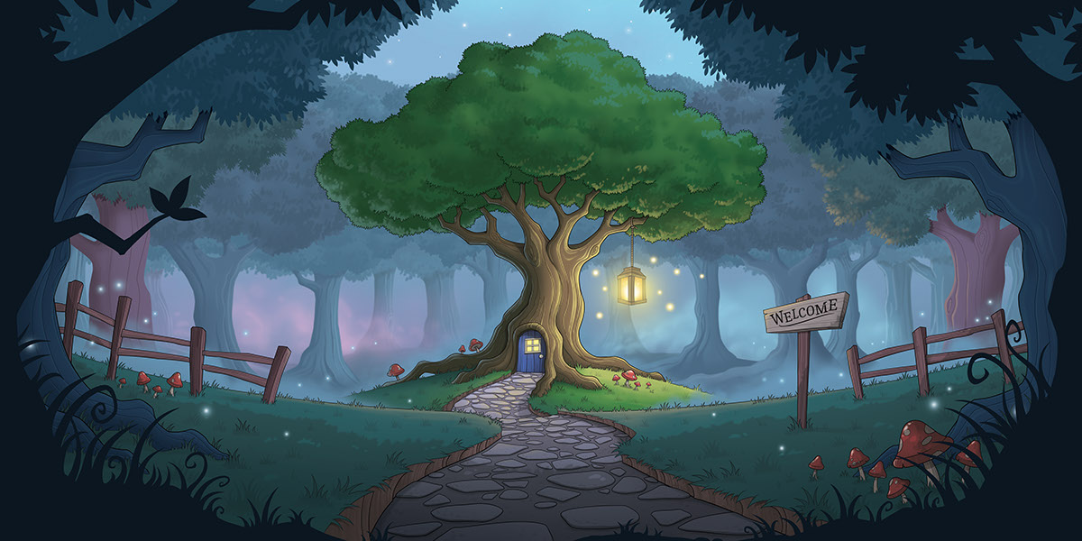 Magical forest Treehouse studio fantasy artwork portfolio