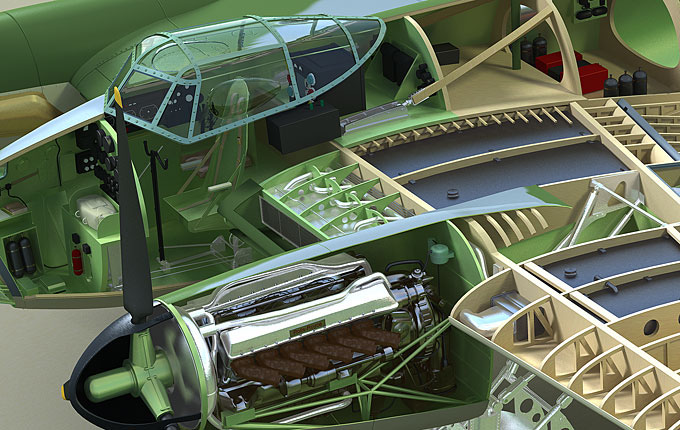 technical technical illustration cutaway cut-away 3D Render 3ds max Spitfire mosquito airplane Aeroplane engine aviation raf visualisation