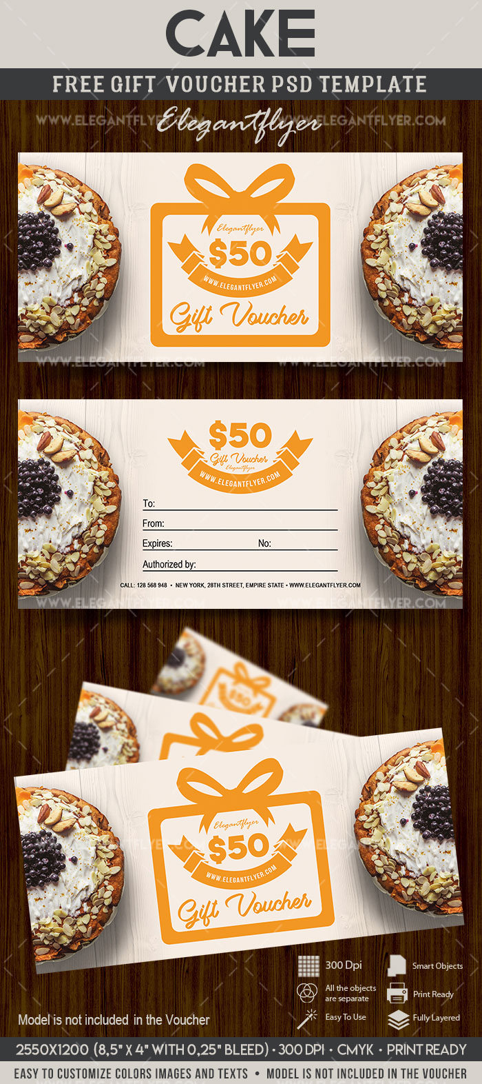 Cake , FREE Gift Certificate PSD Template on Behance