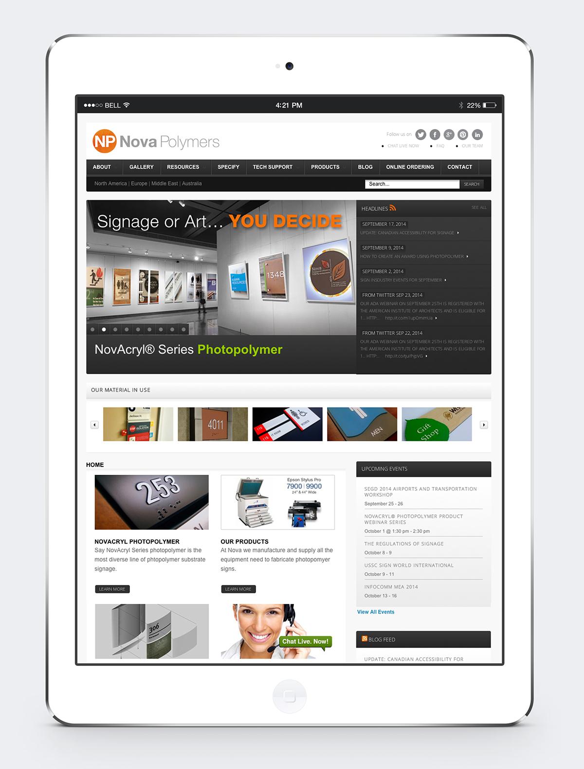 Nova Polymers website redesign and development
