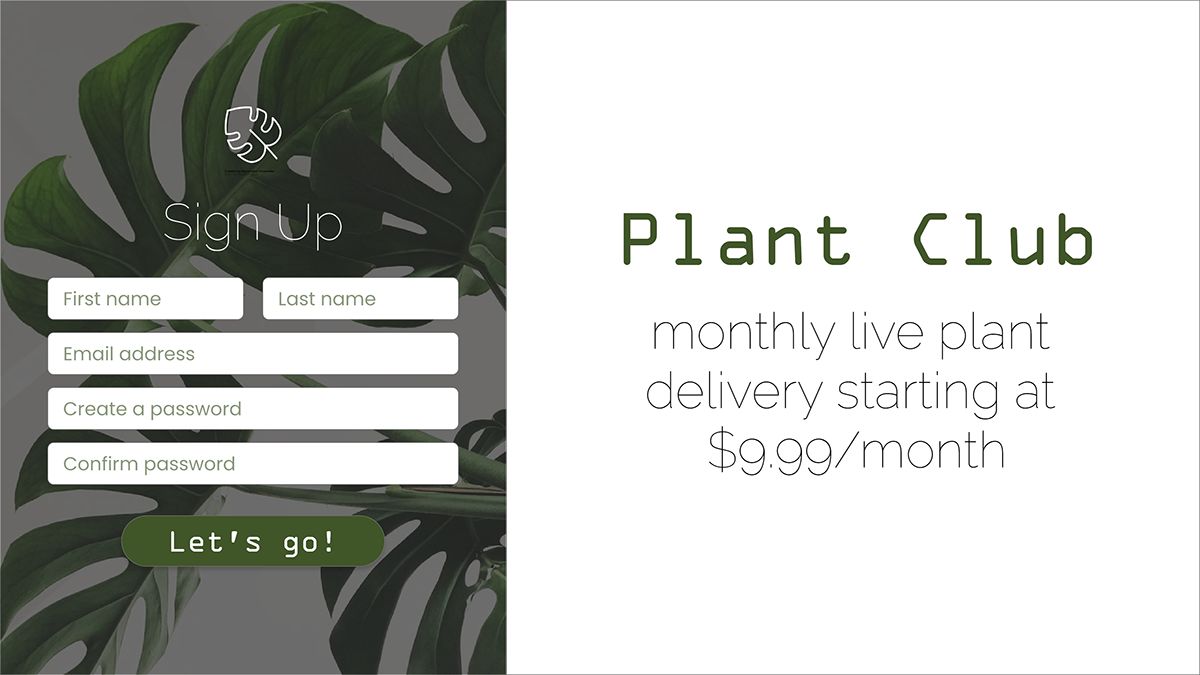 Daily Creative Challenge plants sign up sign-up form XD Daily