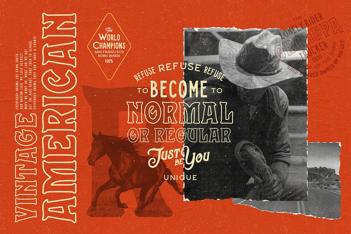 stranger font vintage american Retro bundle Hipster western Denim free