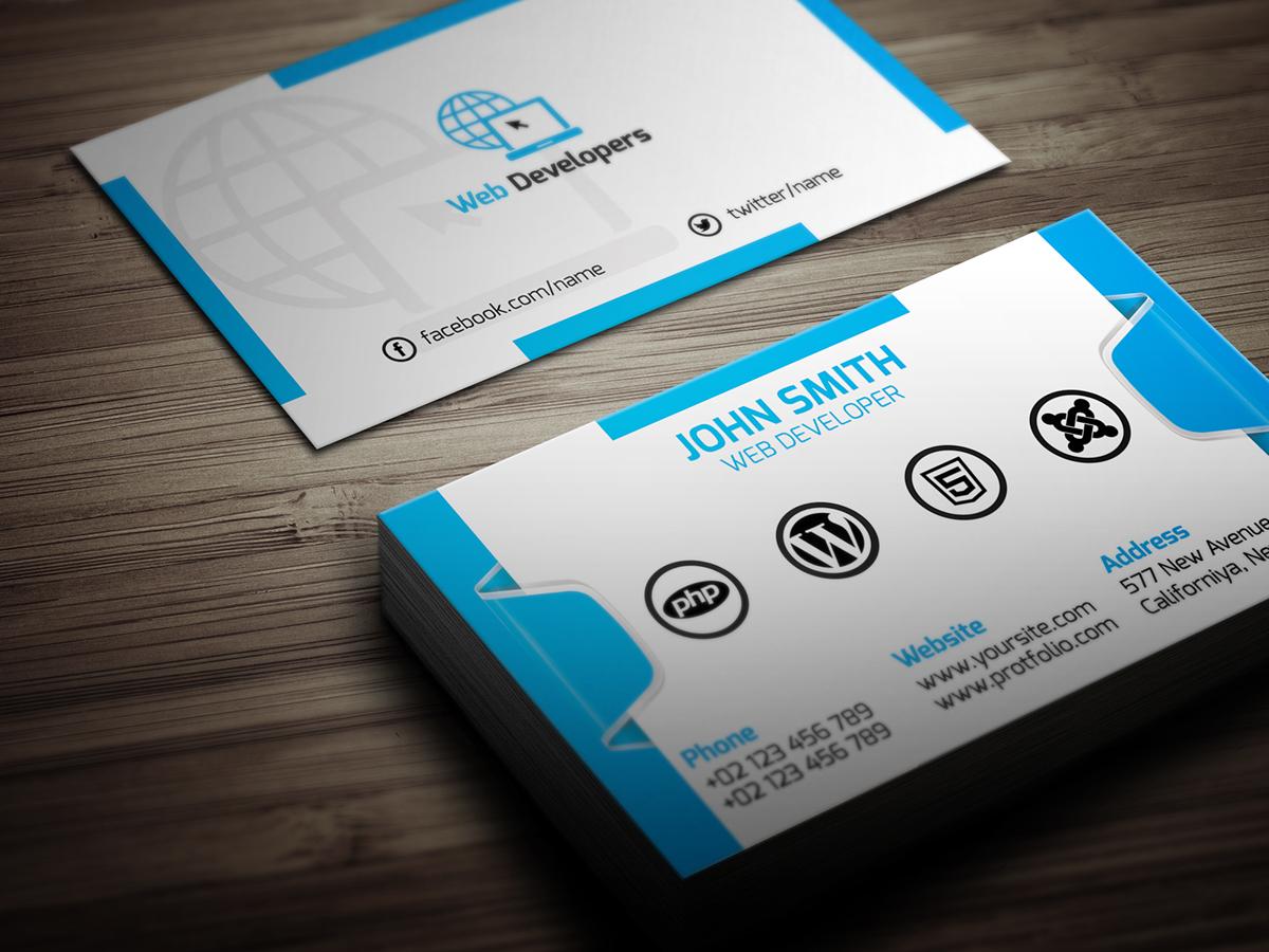 Web Developer Business Card (Free Download) on Behance