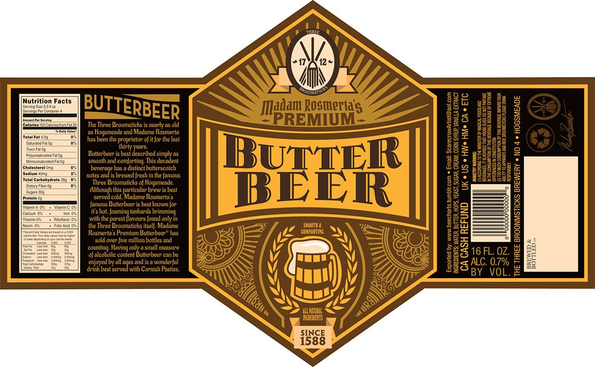 Harry Potter Butterbeer Logo Butterbeer Label on Be...
