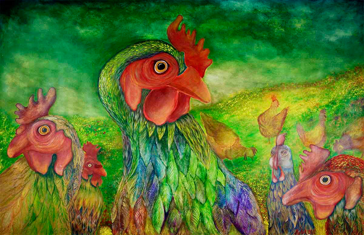 optimistic restart animal Nature woman rights equality Gender home decor revolution working at home acrylic on canvas hen apotheosis of hen