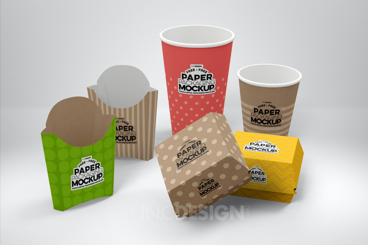 burger free mockup  Fast food Fries soda paper packaging