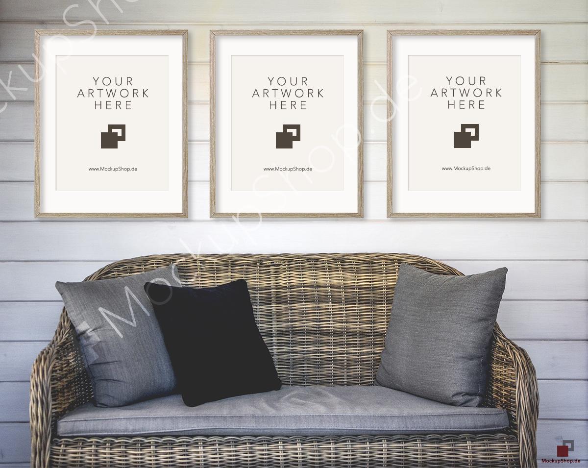 3 vintage frame mockup with sofa on behance Rattan sofa grau