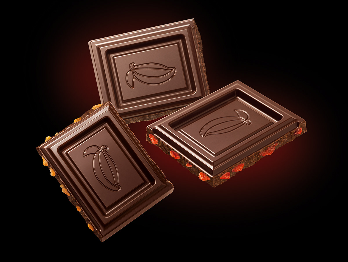 Photographic realistic chocolate illustration for Orion chocolate packaging.