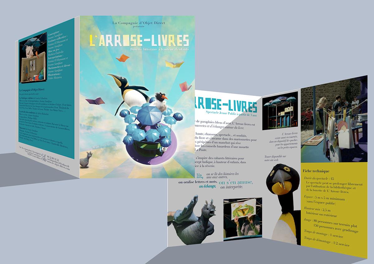 L'Arrose livres Plumes Livres buvette literaire Spectacle pour enfants illustration literaire décor spectacle communication spectacle affiche Dossier de communication spectacle marionnettes