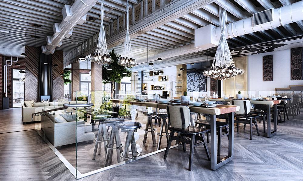 Industrial restaurant design on behance