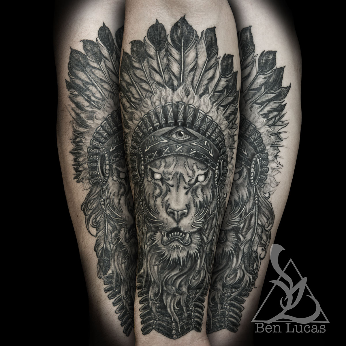 Lion With Indian Headdress On Behance