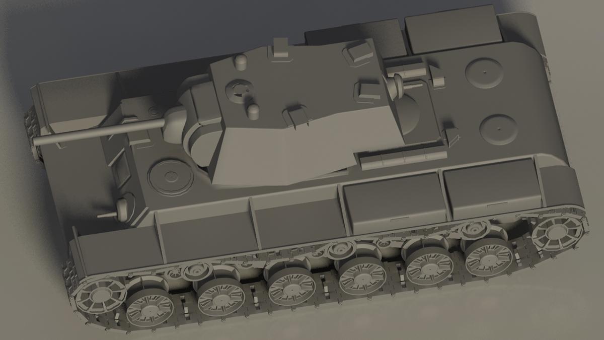 3D моделирование танк кв-1 Hi-poly Tank modeling