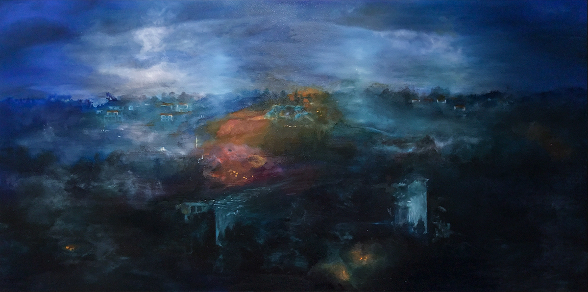 Landscape oil paint layered glaze