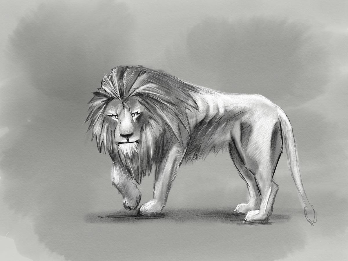 Lion sketch apple pencil on wacom gallery
