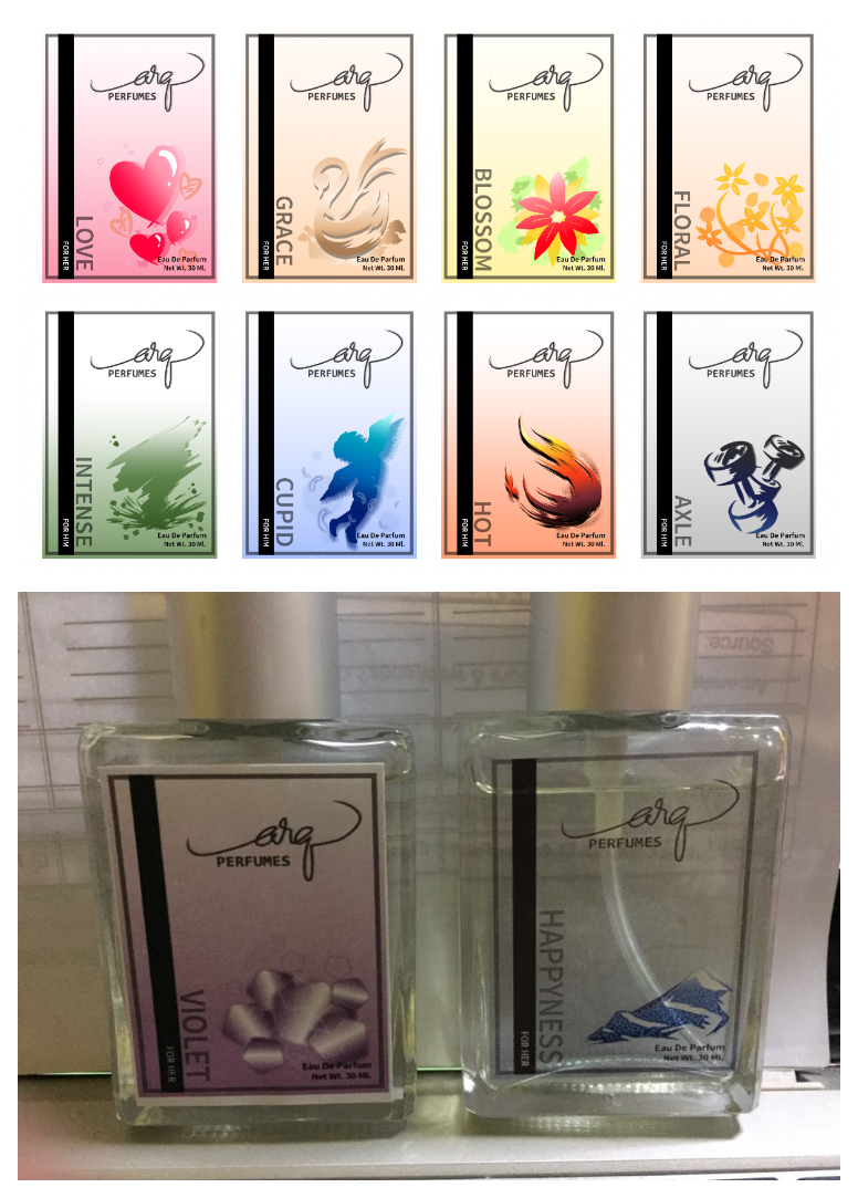 Arq perfumes brand layout and art note the arq logo is provided by the client and is not my own design