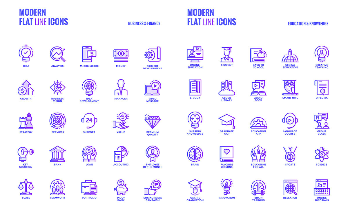Big collection of Set flat gradient line icons on Behance