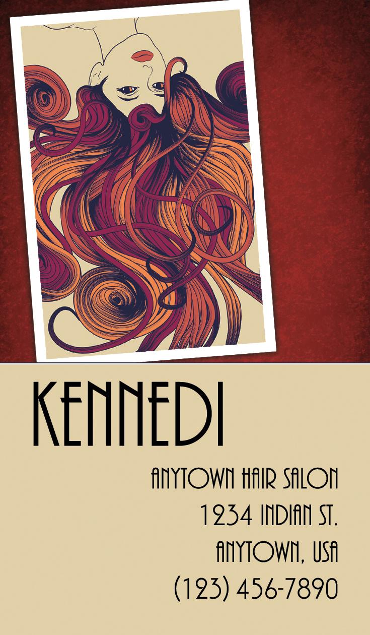 Mary Kennedi business card postcard hair salon