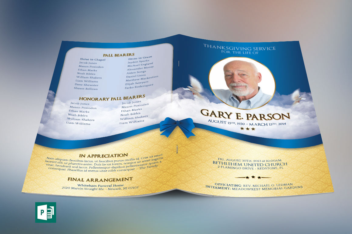 Blue Ribbon Funeral Program Publisher Template Is For A Modern  Commemorative Or Home Going Service. Designed With A Blue Ribbon Over A  Golden Background And ...  Funeral Program Background