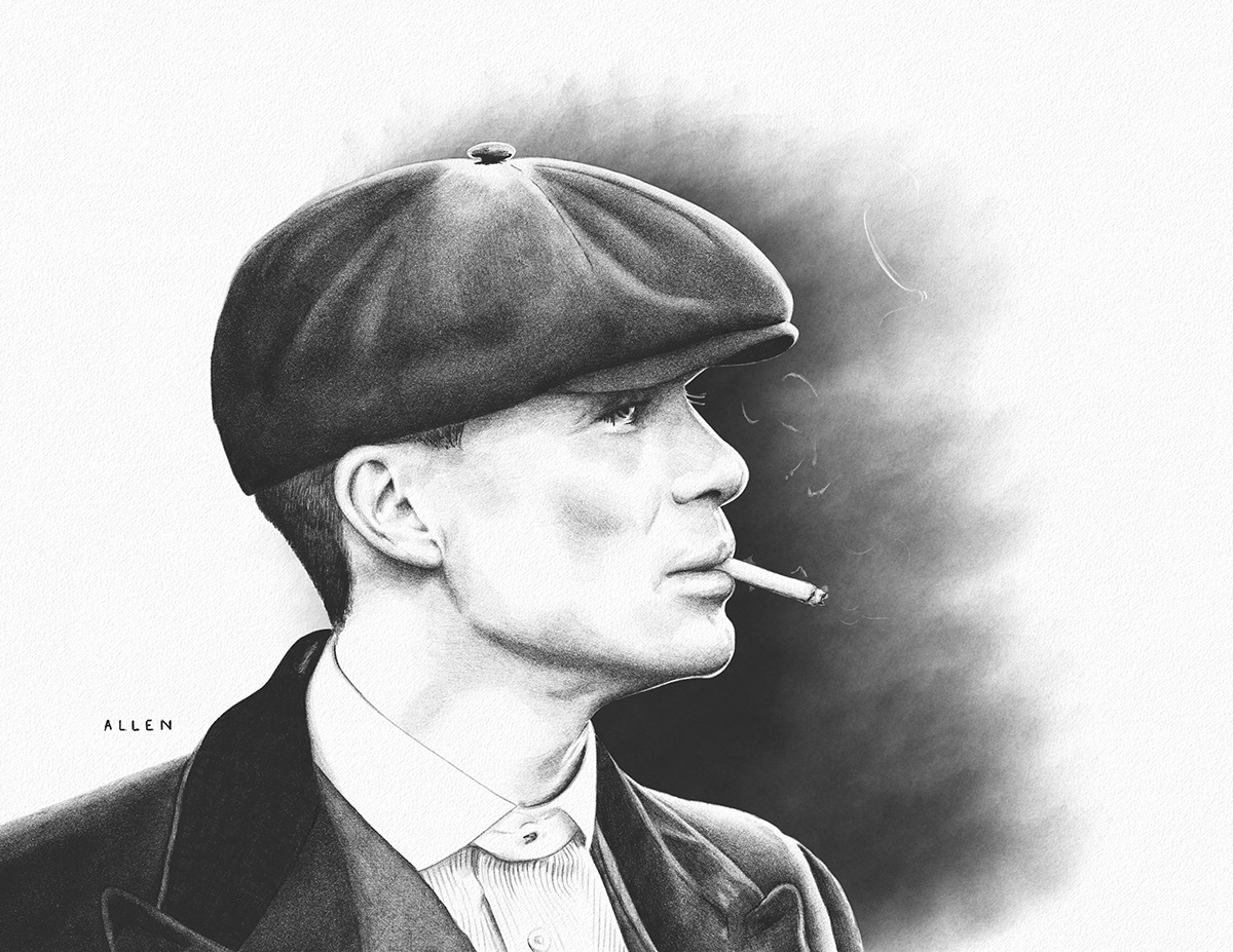 Peaky Blinders Thomas Shelby tommy shelby Netflix Drawing  portrait ipad art adobe drawing