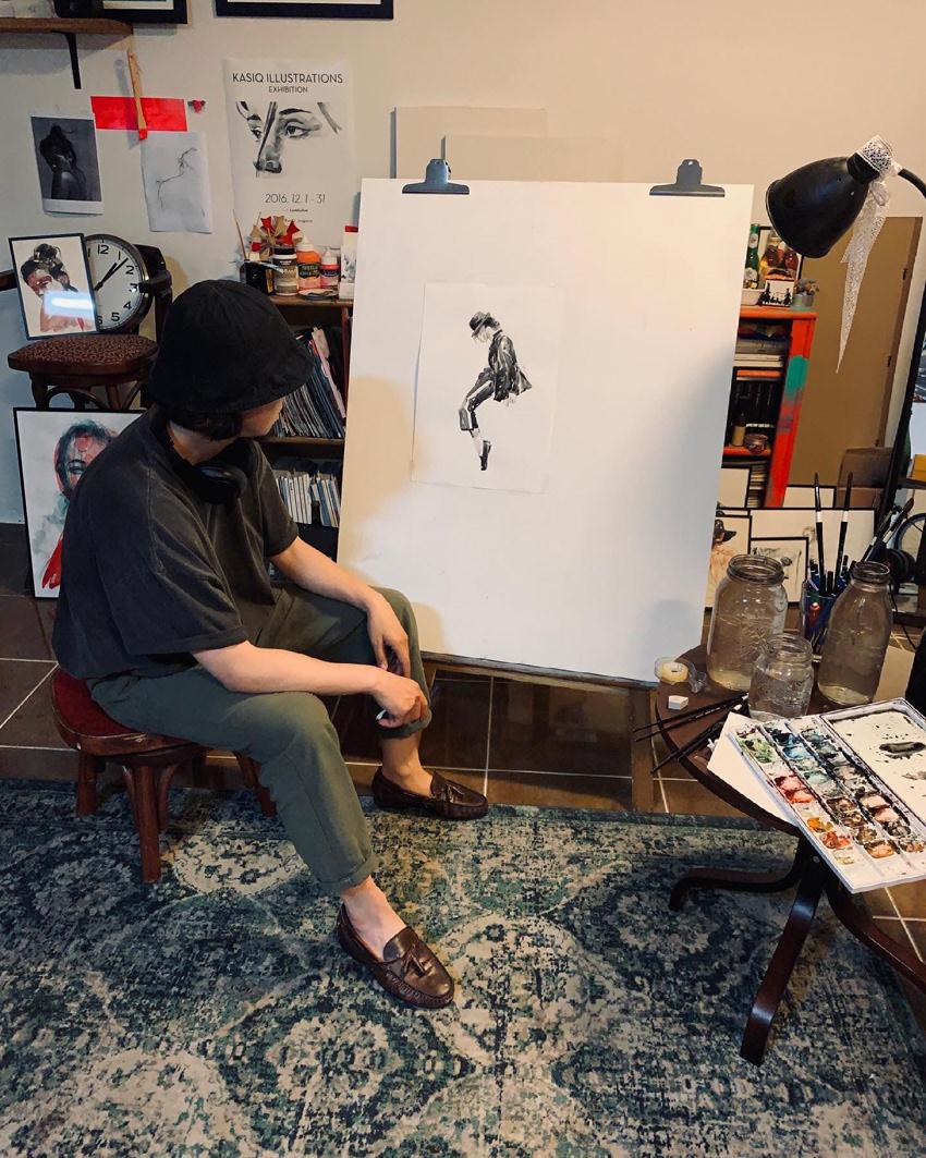 artwrok Drawing  Fashion  ILLUSTRATION  kasiq live painting Michael Jackson studio Style watercolor
