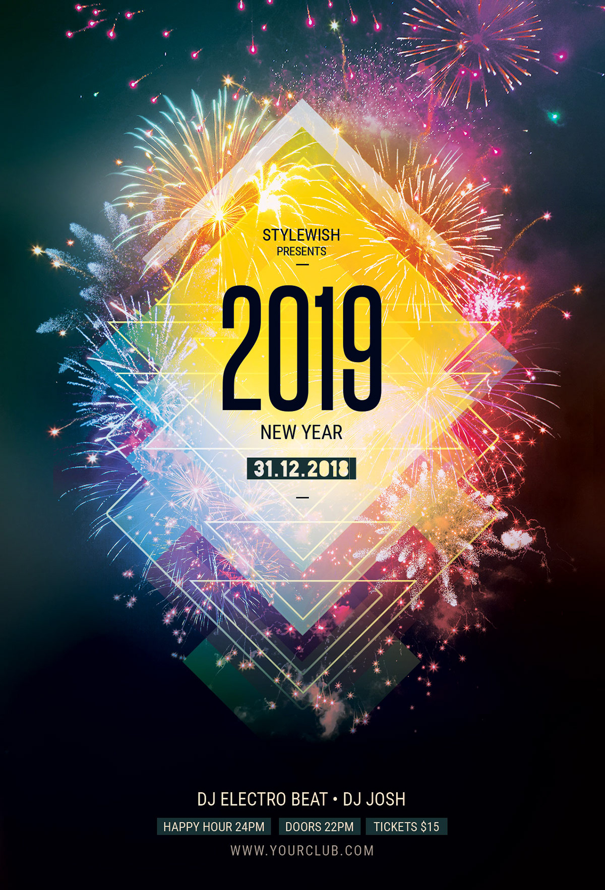this psd flyer template is designed to promote a new year event