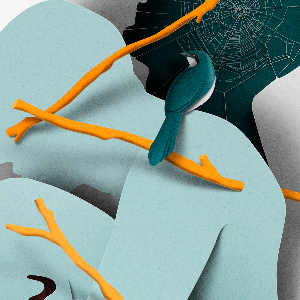paper cut myth birds characters abstract