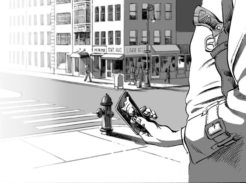 Cop seeks redemption at the end of his life - monochrome version