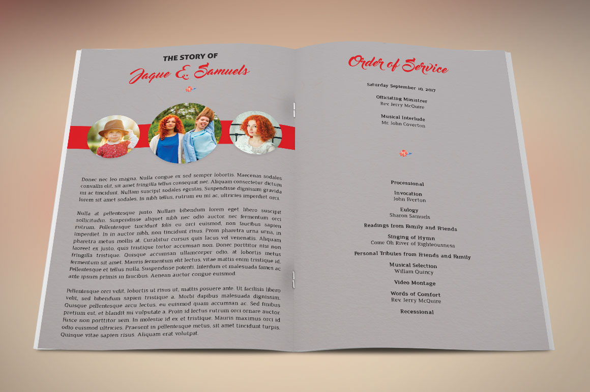 Goodbye Funeral Program Template On Behance - Photoshop wedding program template