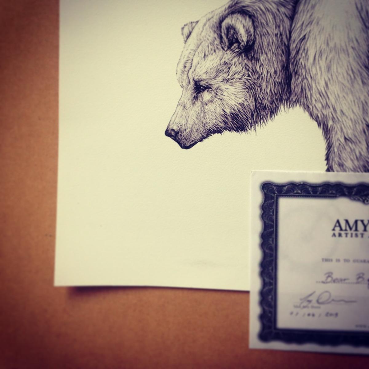 bear hare Bike Cycling sport hair animal funny comedic sad print card greetings gift