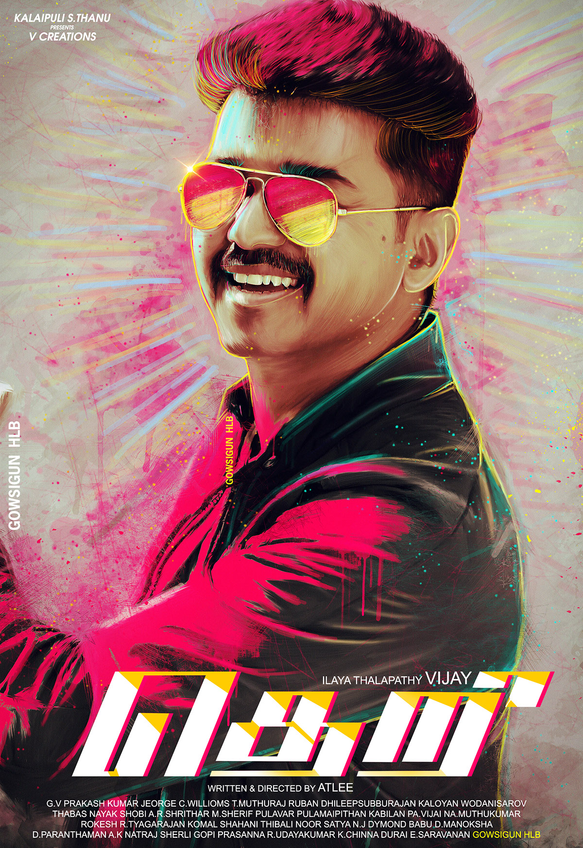 Theri tamil movie fan made poster by me on pantone canvas gallery - Vijay high quality images download ...