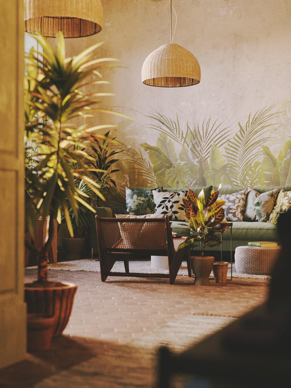 3dsmax architecture corona renderer Interior plants