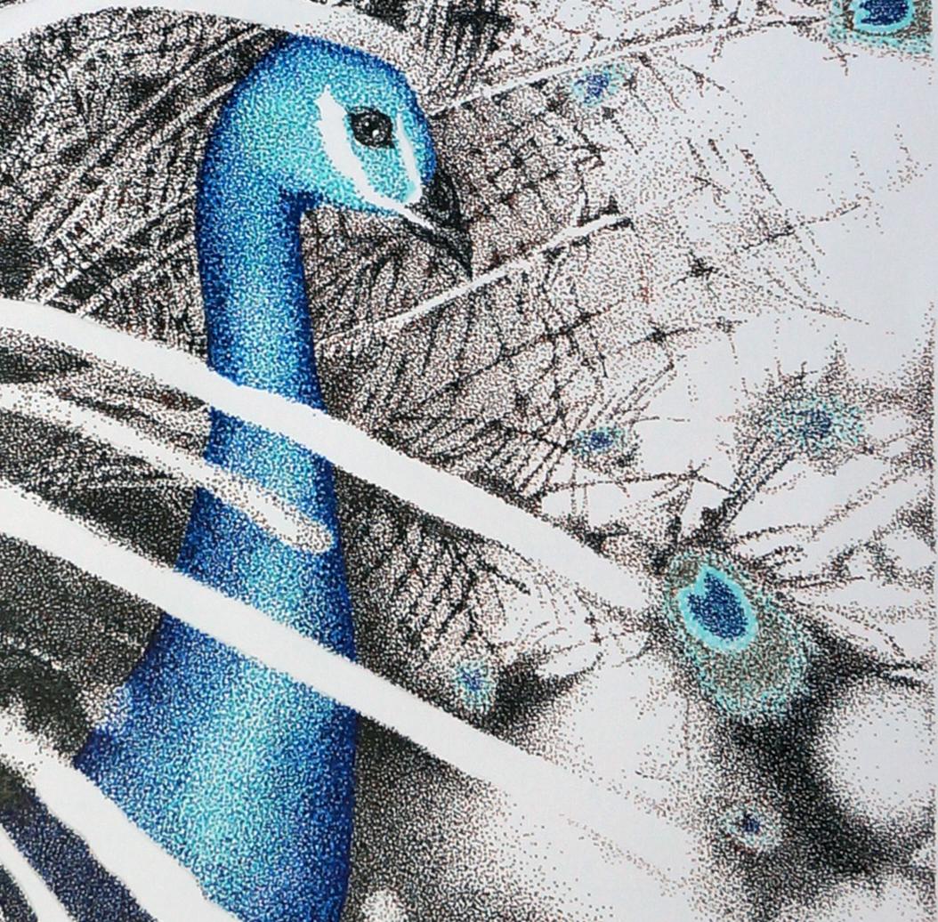 dotwork pointillismus stippling peacock