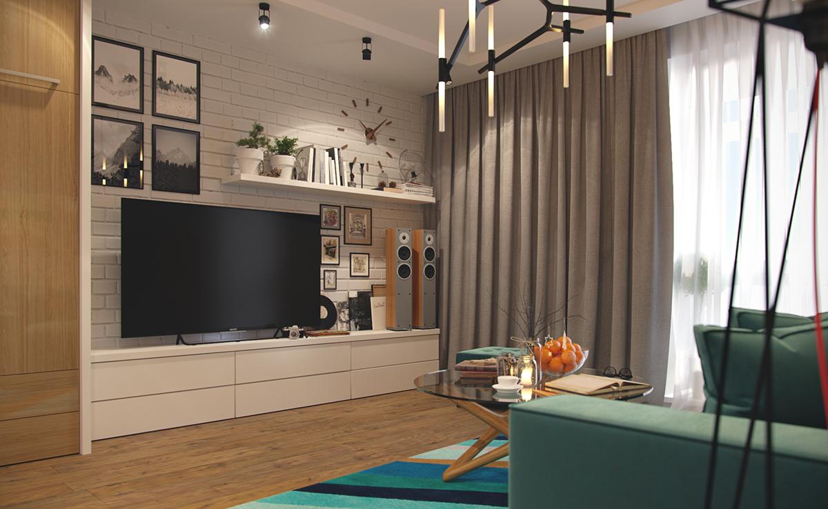 visualization apartment Bright interior living room kitchen bathroom