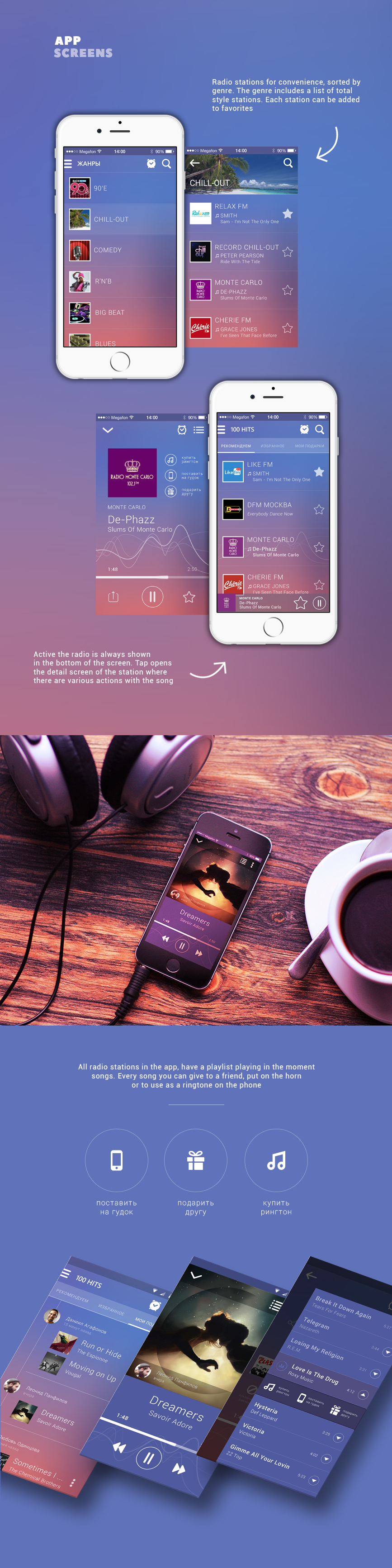 Radio app player Interface iphone STATION Musical icons song playlist sound alarm tablet iPad android