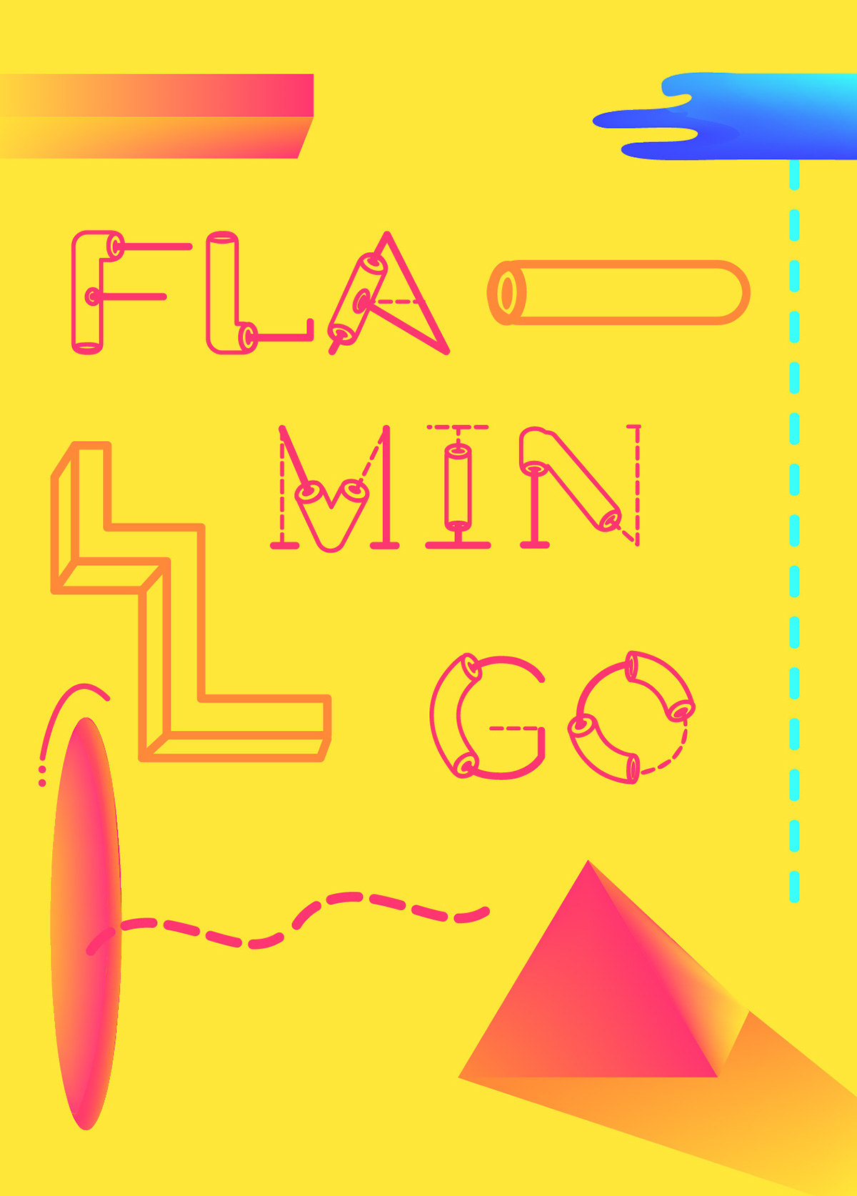 flamingo font type fontype futurist geometric summer tube exclsuive font free