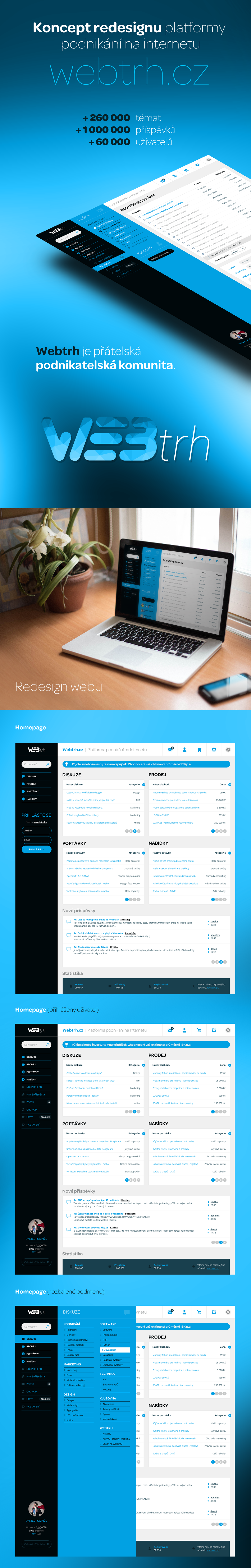 webtrh phpbb diskuze forum redesign koncept dashboard concept UI