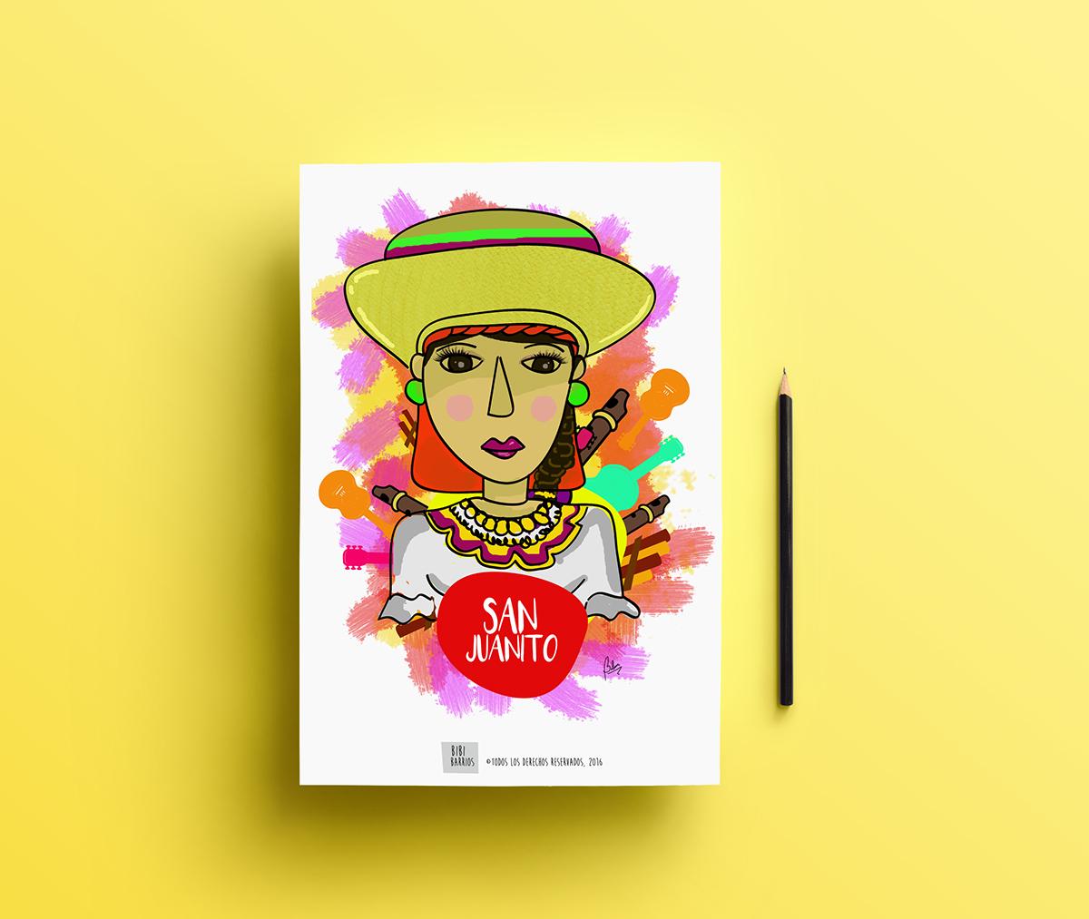 ilustracion Ecuador diseño cultura bailes