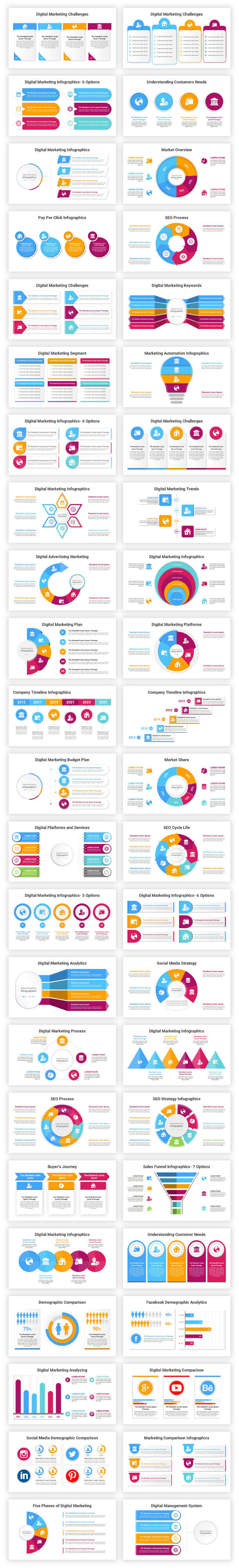 Digital Marketing Infographics Solutions PowerPoint Diagrams Template - 1