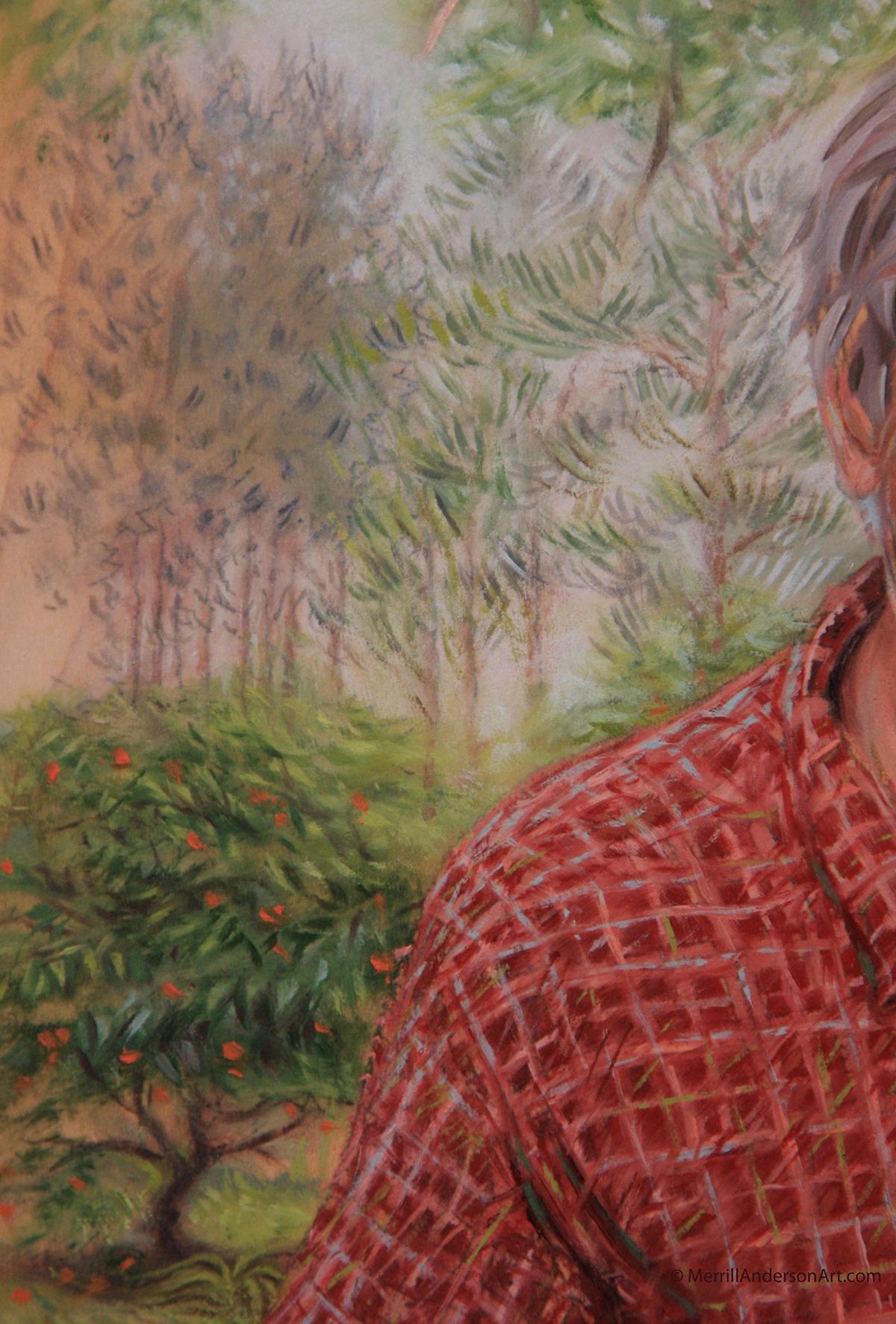 portraits Oil Painting heirloom man woman dog Live oak tree oranges