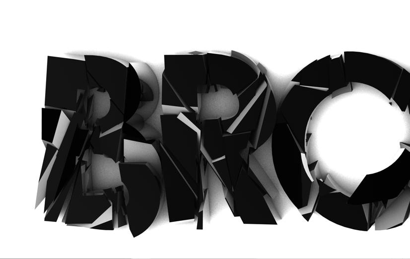 3D broken shattered cinema 4d print type