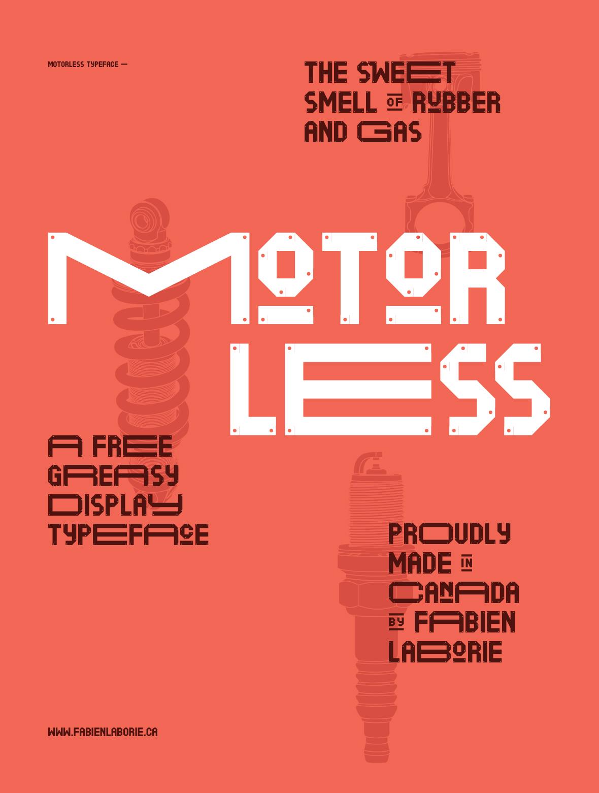 Motorless free font family Typeface Motor car scrap metal vintage sign Ford automotive   mechanics Vehicle