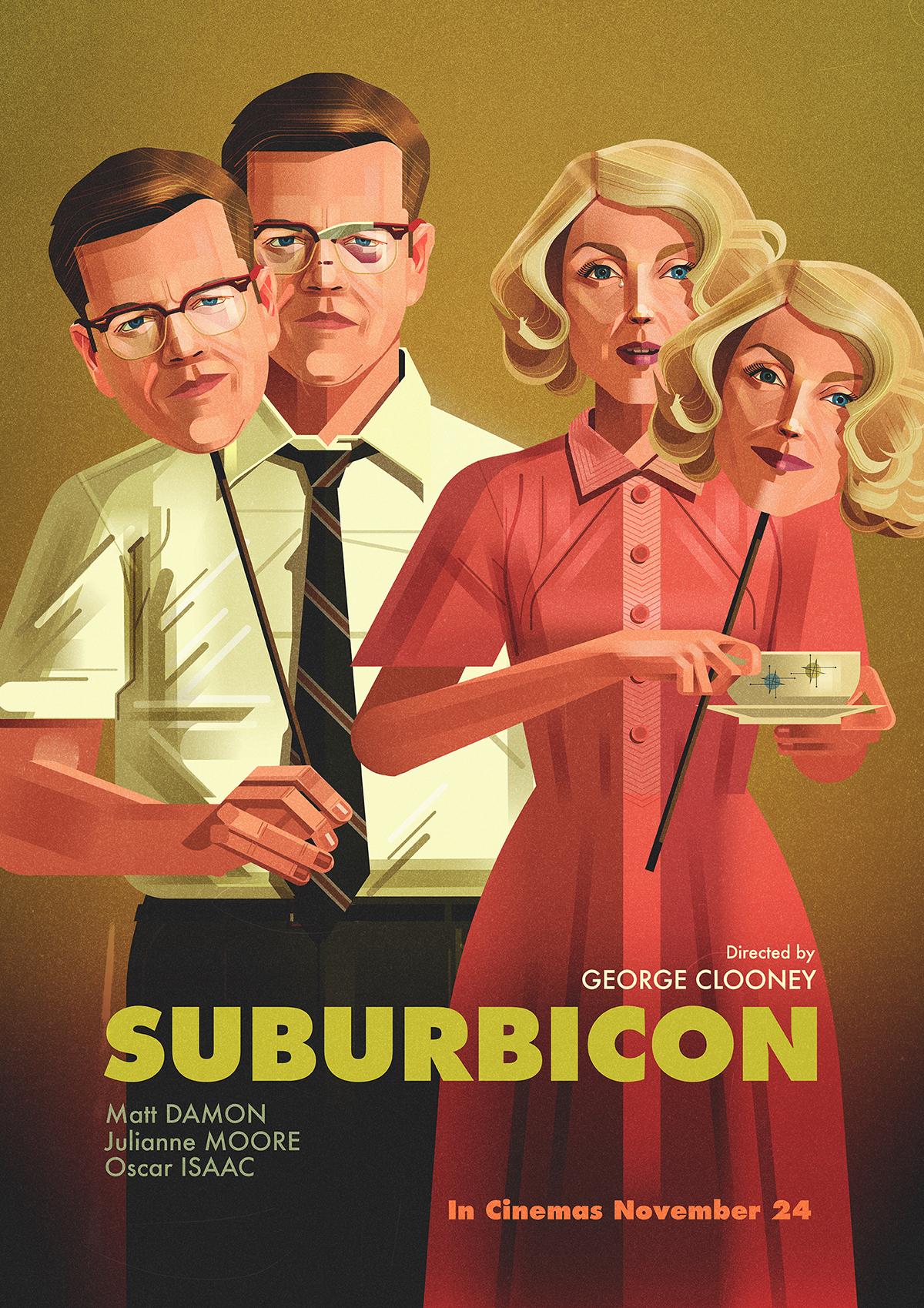 Suburbicon poster james Gilleard george clooney Matt Damon ILLUSTRATION