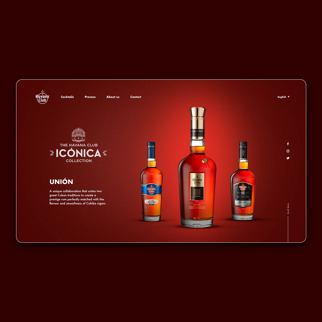 Web drinks Rum Webdesign uidesign pagina web Diseño web havanaclub uxdesign Interface