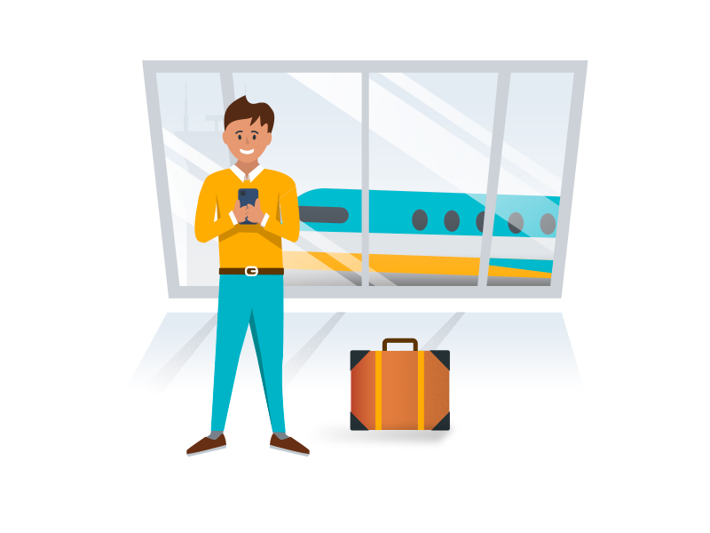 after effects airport animation Booking Flight Illustration Illustrator mobile onboarding plane