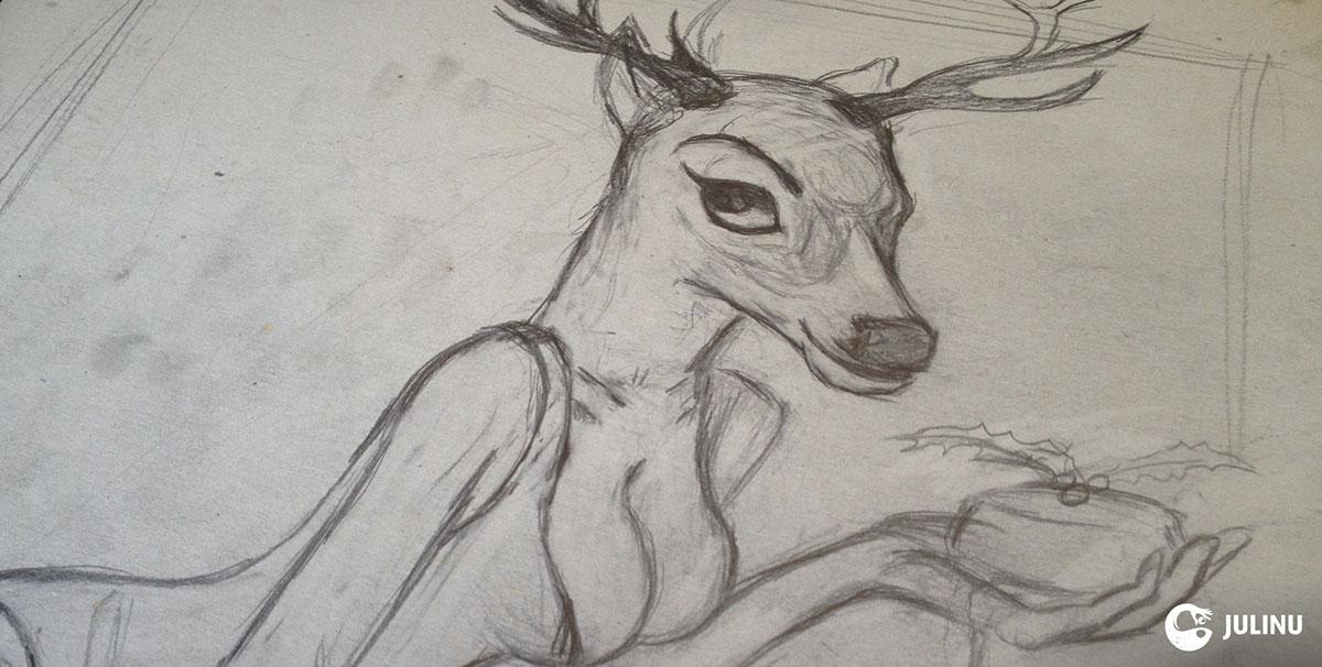 Pudina Danjeli julian mallia julinu xmas reindeer sexy oil paint kinky tease
