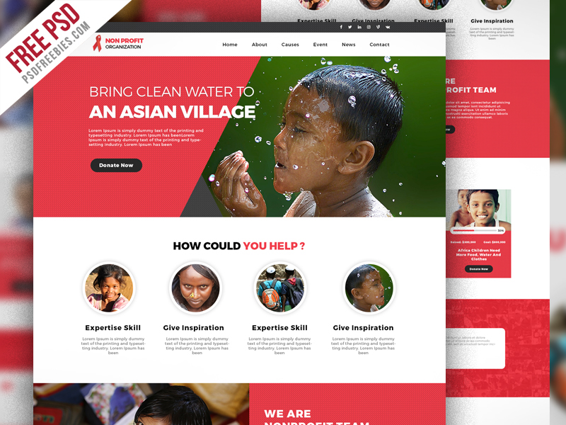 Free PSD : Non Profit Organization Website Template PSD on Behance