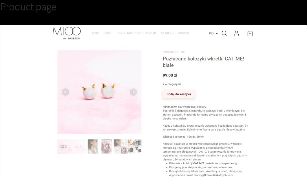 Mioo Ecommerce jewelry handmade UI ux front-end wordpress