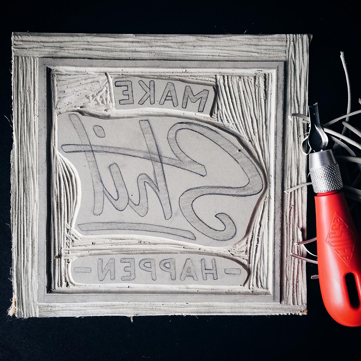 lino print,print,grunge,brush lettering,lettering,HAND LETTERING,lino,poster,craft